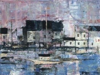 Dockside by P Buckley Moss is a giclee on canvas featuring doc houses and boats in shades of blues and lavender.