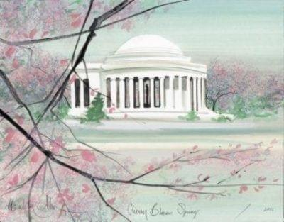 Cherry Blossom Spring limited edition print by P Buckley Moss features the Jefferson Memorial in colors of soft green, pink, white, black and aqua.
