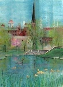 Springtime Spires at Carroll Creek iby P Buckley Moss features the skyline of Frederick, Maryland. Aqua sky with deeper turquoise waters, burgundy buildings with greenery and a splash of rose pink added as Spring breaks out in the area.