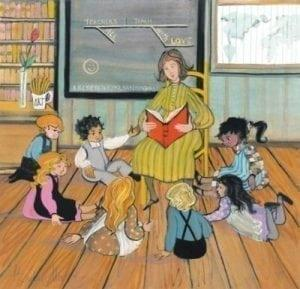 A Noble Profession features a teacher reading to a group of children. Colorful art print.