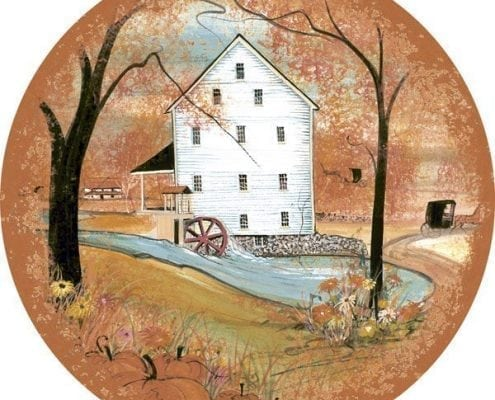Autumn at Silver Lake Mill ornament by P Buckley Moss features the mill in vibrant colors of orange, rust, yellow, soft blues and white.