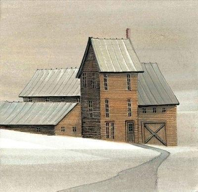 Homestead by the Sea is a beautiful house and barn combination of architecture in earth colors of rust, pale fern green, gray, white with some peach and tan in the sky.