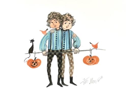 p-buckley-moss-jack-o-lantern-twins-art-print