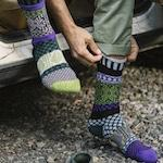 Balsom Carnation Solmate Crew Socks. Large inventory at Canada Goose Gallery in Waynesville, Ohio. Multi-colors of blue, green, purple.