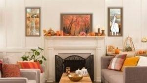 Fall decorating ideas with P Buckley Moss art.