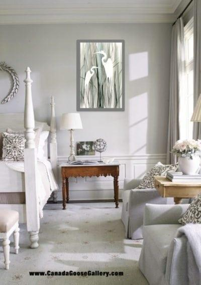 Add a splash of color to an all white room for effect.