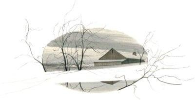 Shenandoah Valley Winter limited edition print by P Buckley Moss at Canada Goose Gallery in Waynesville, Ohio