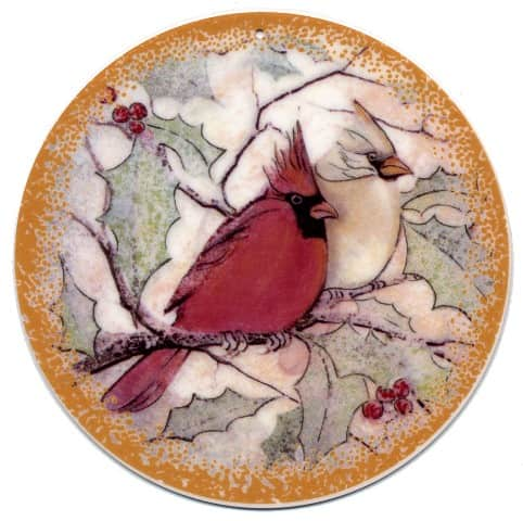 Winter Together Porcelain Ornament with male and female cardinals together on a branch. Feeling of Love.