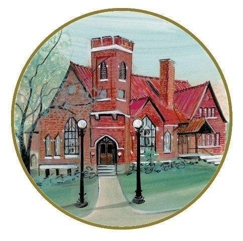 Amazing Grace ornament by P Buckley Moss depicts an historic church in Waynesville, Ohio