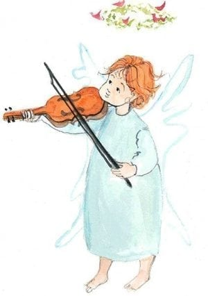 Angelic Rhapsody is a limited edition print by P Buckley Moss featuring a little angel with wings playing a violin. So sweet!