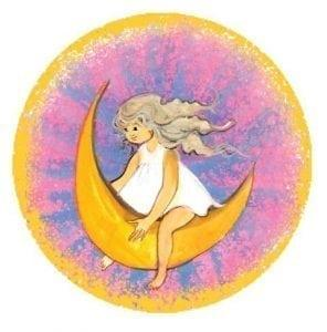 P Buckley Moss Moon Beam Ornament with child sitting on the moon with Pink and blue background.