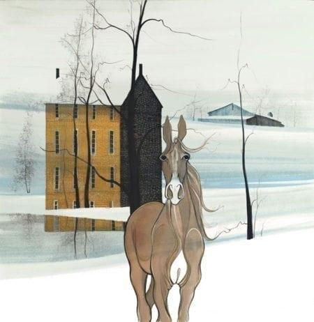 Reflections of the Soul by P Buckley Moss features a camel and tan colored horse with background of soft aqua and white. Three story house in shades of rust and brown.