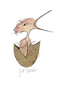 Just Hatched girl limited edition print by P Buckley Moss featuring a fledgling bird in print, representing a girl bird breaking out of the egg.