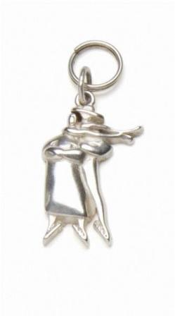 Sterling silver charm featuring P Buckley Moss iconic skaters.