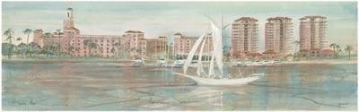 Floridian Splendor limited edition print by P Buckley Moss features the ocean front view along St Petersburg, Florida. Very soft colors of gray-green, light aqua, rose and white.