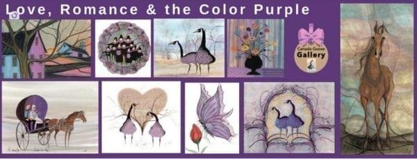 Limited edition prints by P Buckley Moss that group together all featuring the color purple. Wall art collectable art.