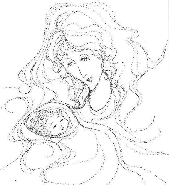 Artistic sketch which looks like it was created basically from connecting the dots. Only a true artist couple pull this off. Black and White dotted sketch of mother and baby child.