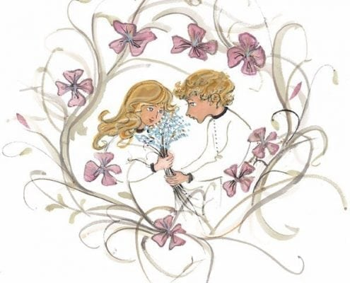 Love Blooms limited edition print of two children in a wreath of flowers. Feeling of love, great idea for Valentine day gift.