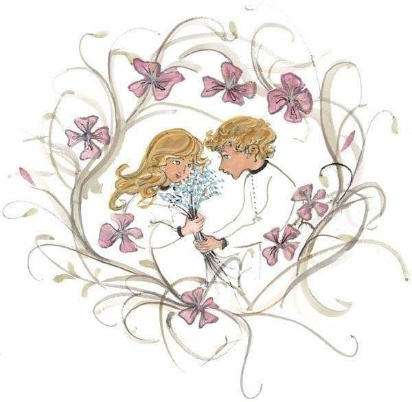 Love Blooms limited edition print of two children in a wreath of flowers. Feeling of love, great idea for Valentine day gift. Two in love with wreath of flowers in lavender, earth tones and a touch of blue.