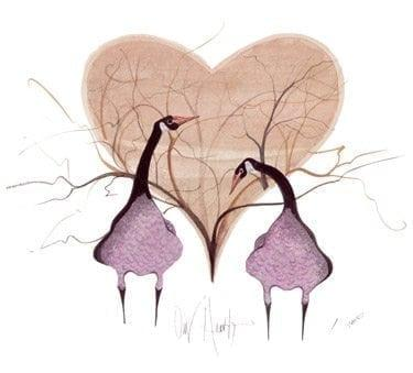 Our Hearts limited edition print by P Buckley Moss features two geese, who mate for life, in a heart-shaped background of artistic trees.