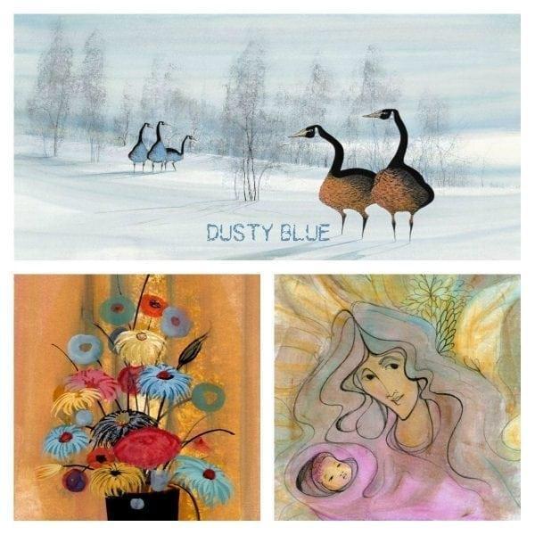 PBuckleyMoss-Waynesville-Ohio-CanadaGooseGallery-Art-Artist-LimitedEdition-Printdustyblue-color-homedecor-pbuckleymoss-flowers-Mother-child-baby-geese-landscape