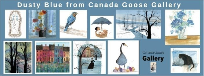CanadaGooseGallery-WaynesvilleOhio-Dusty Blue-pbuckleymoss-limitededitions-art-color-Trees-Bird-Goose-Skater-Baby-Art