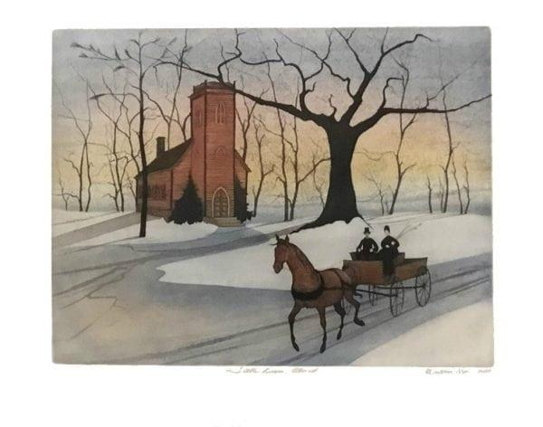 Rare Little Brown Church Etching by P Buckley Moss features an open horse drawn wagon with colors of peach, yellow and blues in the background sky. Iconic bold black Moss tree. Rare etching issue price.