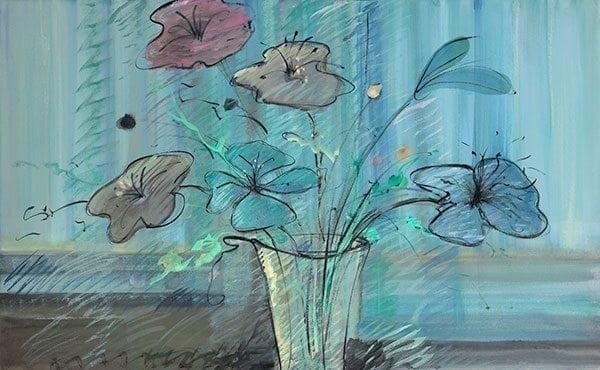 Floral Rhapsody limited edition giclee print by P Buckley Moss features her modern art bouquet in turquoise, pale yellow, light mauve and darker blue.