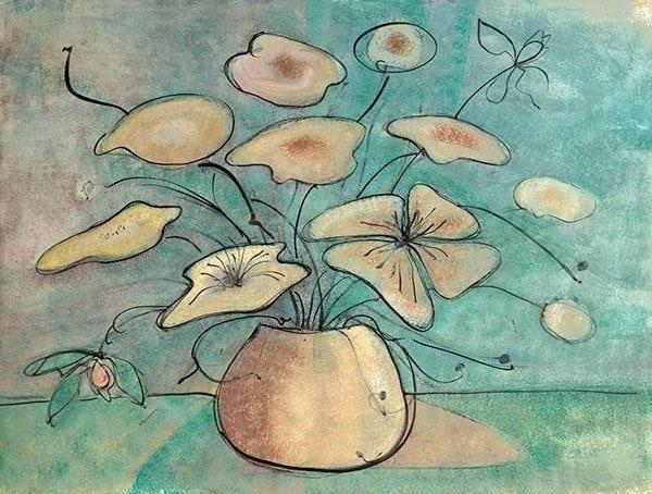 Flowers on Gold by limited edition print by P Buckley Moss features a gold colored pot with cream flowers and aqua and tan highlights throughout.