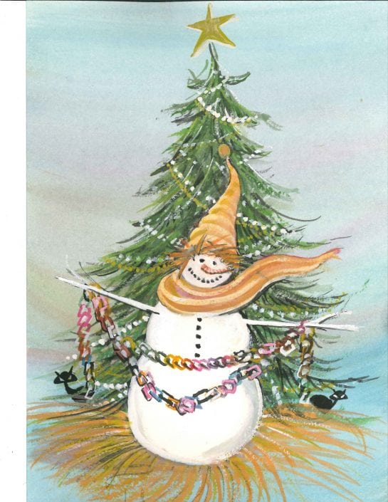 Season's Greetings limited edition print by P Buckley Moss is full of laughter and fun for the winter and holiday season. White snowman with treen tree decorated with ornaments and a rainbos of colors. Black iconic cats peek from behind the tree and the snowman all dressed in his best complete with hat and matching scarf in golds.