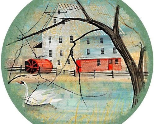 TheMillInSummer-Waynesville-Ohio-PBuckleyMoss-Ornament-LimitedEdition-Art-Summer-Mill-Virginia