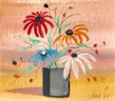 Original watercolor painting by P Buckley Moss featuring gray pot with large open flowers in reds, blue and white. Golden and peach background