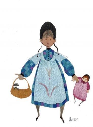 PBuckleyMoss-Original-Watercolor-painting-Girl-Dketoll-Cat-BlackCat-Basket