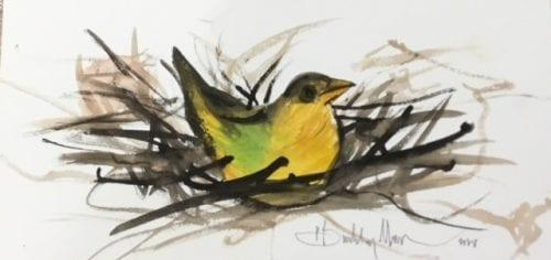 Original watercolor painting by P Buckley Moss featuring a bird in nest in colors of yellow, brown and green.