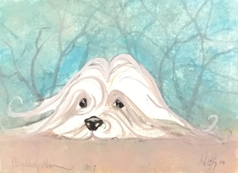 Dog original watercolor painting by P Buckley Moss with tans, aqua white, cream and black accents.