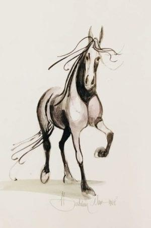 P Buckley Moss Original Watercolor painting of a Horse prancing. Black and white and shades of gray.