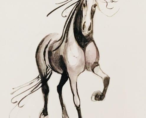 CanadaGooseGallery-WaynesvilleOhio-Painting-Original-Watercolor-PBuckleyMoss-Art-HomeDecor-decorating-horse