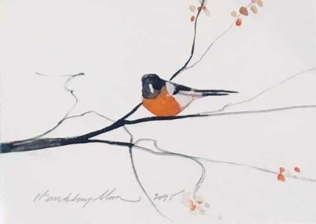 Original watercolor painting by P Buckley Moss featuring a single orange breasted bird on a black and gray tree branch.