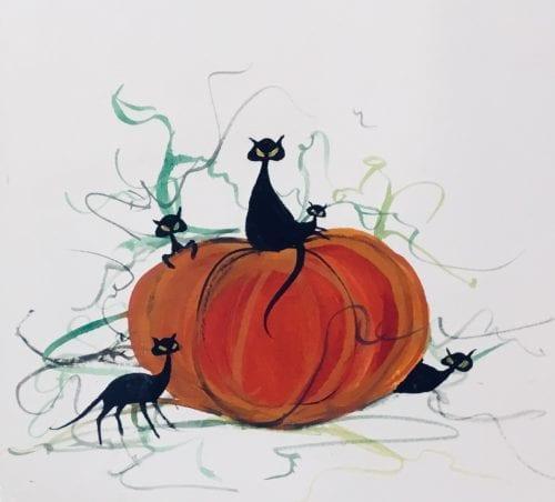 PBuckleyMoss-Original-Watercolor-painting-Cat-BlackCat-Pumpkin