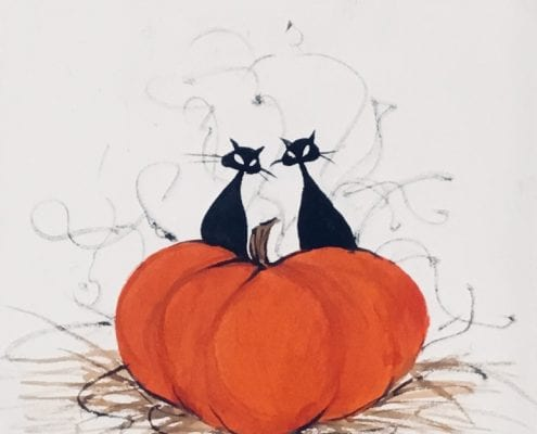 Painting-PBuckleyMoss-Original-Watercolor-painting-Cat-BlackCat-Pumpkin