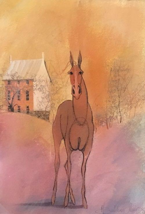 Original watercolor painting by P Buckley Moss of a horse in the foreground and house in the background. Soft warm colors or mauve, rust and golden hues. Exclusively at Canada Goose Gallery in Waynesville, Ohio