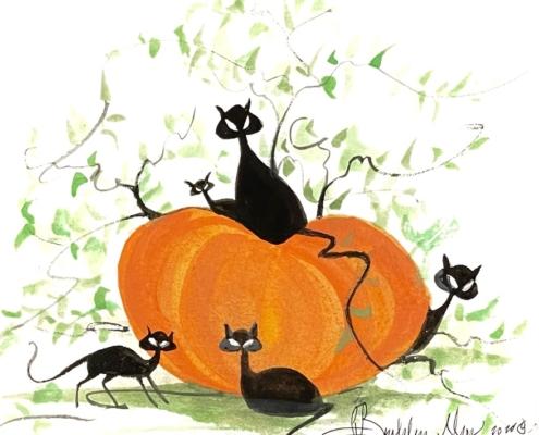 p-buckley-moss-black-cat-ball-original-watercolor