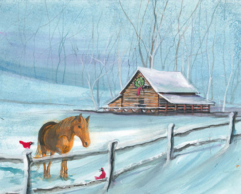 Love Brings You Home limited edition print by P Buckley Moss features a homeplace in the country with birds and pony waiting for family to return home. Colors are blue and turquoise, white, brown and red on the birds.