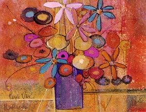 Purple Vase limited edition print by P Buckley Moss features bright colors of red, terra cotta, gold, pink, lavender, blue and purple.