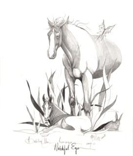 A Remarque is the addition of art by the artist to any reproduction which makes that piece a One-Of-A-Kind piece and adds value over and above the value of any print from the edition. Sketch in light gray coloring where a butterfly and cat has been added to the remarque.