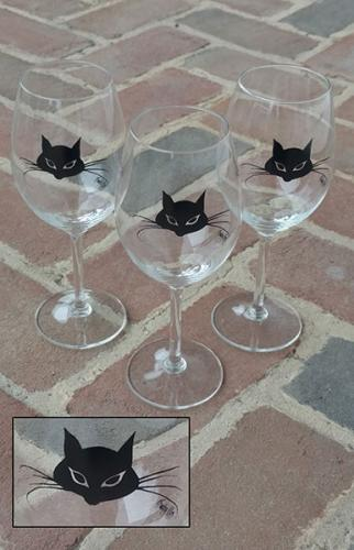 Cat Wine Glass by P Buckley Moss. Joyfully decorated with the Moss iconic black cat face.