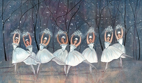 Waltz of the Snowflakes Signed and numbered, limited edition art print by American artist P Buckley Moss at Canada Goose Gallery in Waynesville, Ohio.