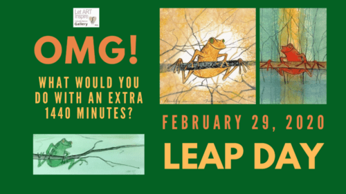Leap Day graphic featuring the frog images of P Buckley Moss.