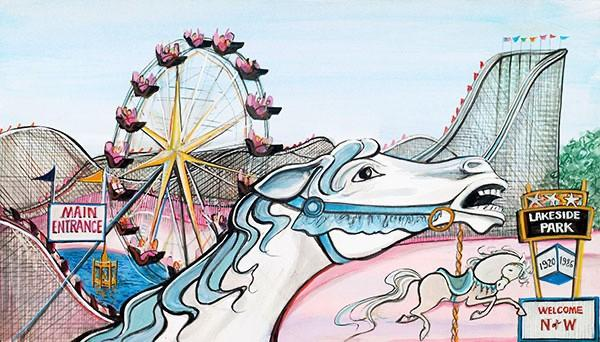 Lakeside Memories is a limited edition print by P Buckley Moss and is available as an artist proof. Memories of Lakeside Park in Roanoke-Salem Virginia area has a white horse head image in the foreground with the amusement rides of the park in the background.