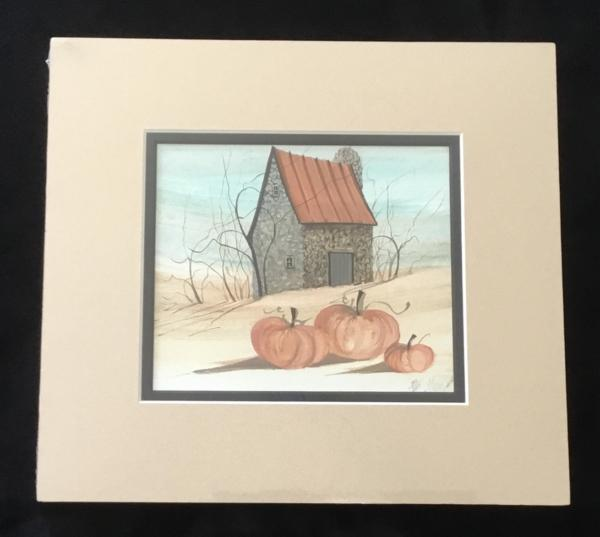 Matted Pumpkin Barn limited edition print by P Buckley Moss. Hillside, stone barn with silo, orange pumpkins and shades of aqua sky